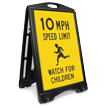 Watch For Children 10 Mph Sidewalk Sign