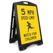 Watch For Children 5 Mph Sidewalk Sign