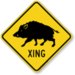Wild Hog Xing Road Sign