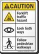 Forklift Traffic Hazard Look Both Ways ANSI Caution Sign