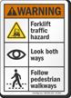 Forklift Traffic Hazard Look Both Ways ANSI Warning Sign