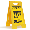 OSHA Caution Slow Standing Floor Sign
