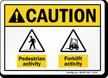 Pedestrian Forklift Activity ANSI Caution Sign