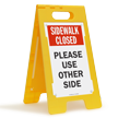 Sidewalk Closed Use Other Side Standing Floor Sign