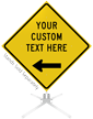 Custom Yellow Roll-Up Sign - Left Arrow