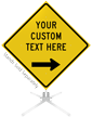 Custom Yellow Roll-Up Sign - Right Arrow