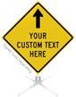 Custom Yellow Roll-Up Sign - Up Arrow