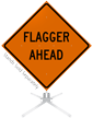 Flagger Ahead Roll-Up Sign