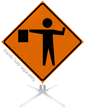 Flagger Symbol Roll-Up Sign