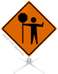 Flagger Paddle Symbol Roll-Up Sign
