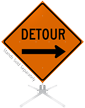 Detour Right Arrow Symbol Roll-Up Sign