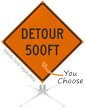 Detour 500 Feet Roll-Up Sign