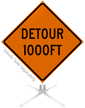 Detour 1000 Feet Roll-Up Sign