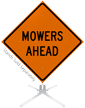 Mowers Ahead Roll-Up Sign