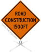 Road Construction 1500 Feet Roll-Up Sign