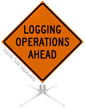 Logging Operations Ahead Roll-Up Sign