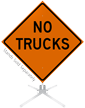 No Trucks Roll-Up Sign