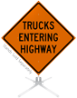 Trucks Entering Highway Roll-Up Sign