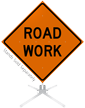 Road Work Roll-Up Sign
