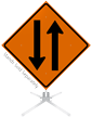 Two Way Traffic Symbol Roll-Up Sign