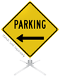 Parking Left Arrow Roll-Up Sign