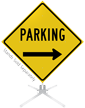 Parking Right Arrow Roll-Up Sign