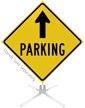 Parking Ahead Arrow Roll-Up Sign