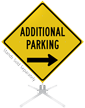 Additional Parking Right Arrow Roll-Up Sign