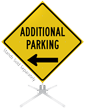 Additional Parking Left Arrow Roll-Up Sign