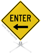 Enter Left Arrow Roll-Up Sign