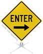 Enter Right Arrow Roll-Up Sign