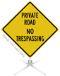 Private Road No Trespassing Roll-Up Sign