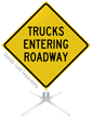 Truck Entering Roadway Roll-Up Sign