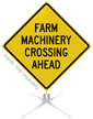 Farm Machinery Crossing Ahead Roll-Up Sign