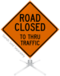 Road Closed To Thru Traffic Roll-Up Sign