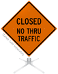 Closed No Thru Traffic Roll-Up Sign