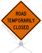 Road Temporarily Closed Roll-Up Sign