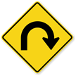 Hairpin Right Curve Symbol - Sharp Turn Sign