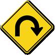 Hairpin Curve Symbol - Sharp Turn Sign