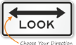 Look (Both Direction Arrow) Traffic Sign