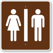 Restrooms, MUTCD Guide Sign for Campground