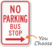 Right Arrow No Parking Bus Stop Traffic Sign