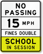 Arizona 15 MPH Speed School Zone Sign
