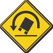 Truck Rollover Warning Symbol - Sharp Left Turn Sign