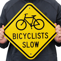 Bicyclists Slow (With Graphic) Signs