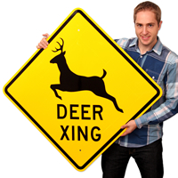 Deer Xing With Graphic Signs