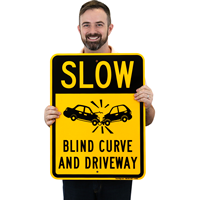 Blind Curve And Driveway Slow Down Signs