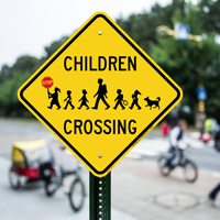 Children Crossing Holding Hand Held Stop Signs