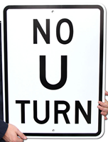 NO U TURN Aluminum Parking Signs