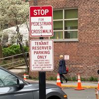 Stop for pedestrian in crosswalk sign